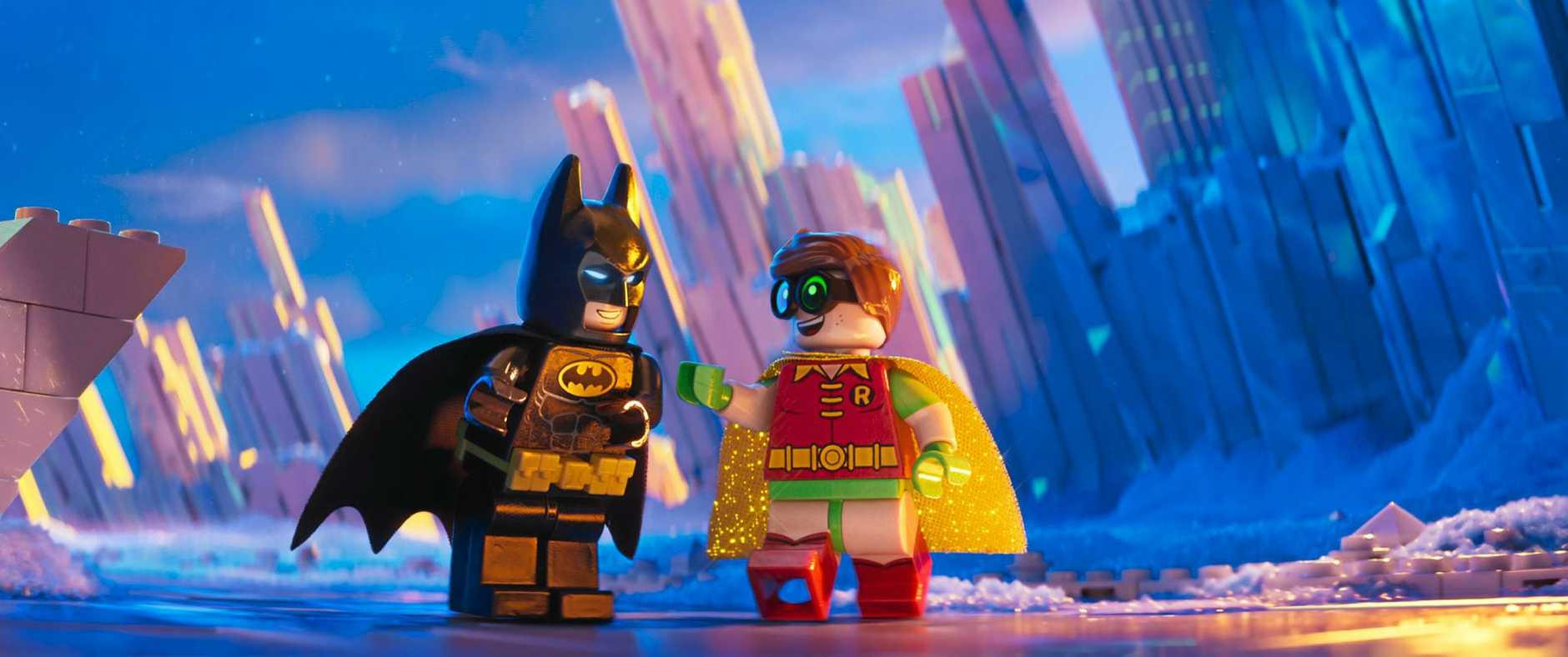 The characters Batman and Robin in a scene from The LEGO Batman Movie. Supplied by Warner Bros.
