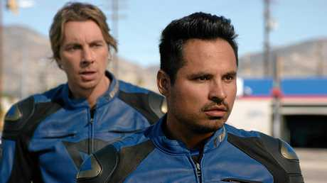 Michael Pena and Dax Shepard in a scene from the movie CHIPS.