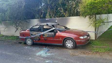 A Holden Commodore was damaged with a pole and set alight on Tweed Ln over the weekend. (Photo posted by Sis Sledge to Gympie, Whinge, Vent & Trolls Facebook page.)