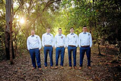 SUPPORT FOR THE GROOM: Ryan and his groomsmen looked dapper for the big day.