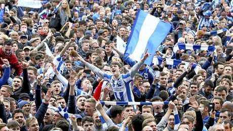 Brighton fans celebrate their team's promotion at the AMEX Stadium