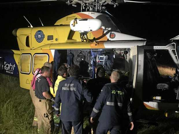 Emergency services and the RACQ LifeFlight helicopter completed a marathon rescue mission last night on a rural property 90km north of Chinchilla.