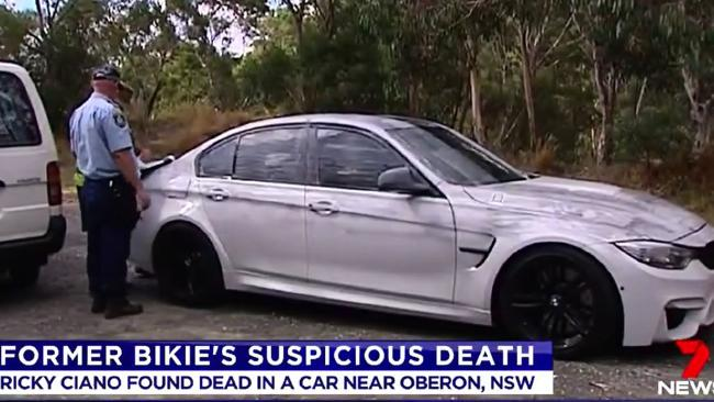 The BMW where Mr Ciano, 35, was found dead near Oberon in mid-February.