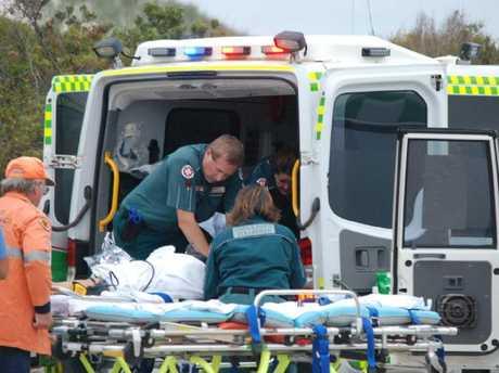 Paramedics rush the girl to hospital.
