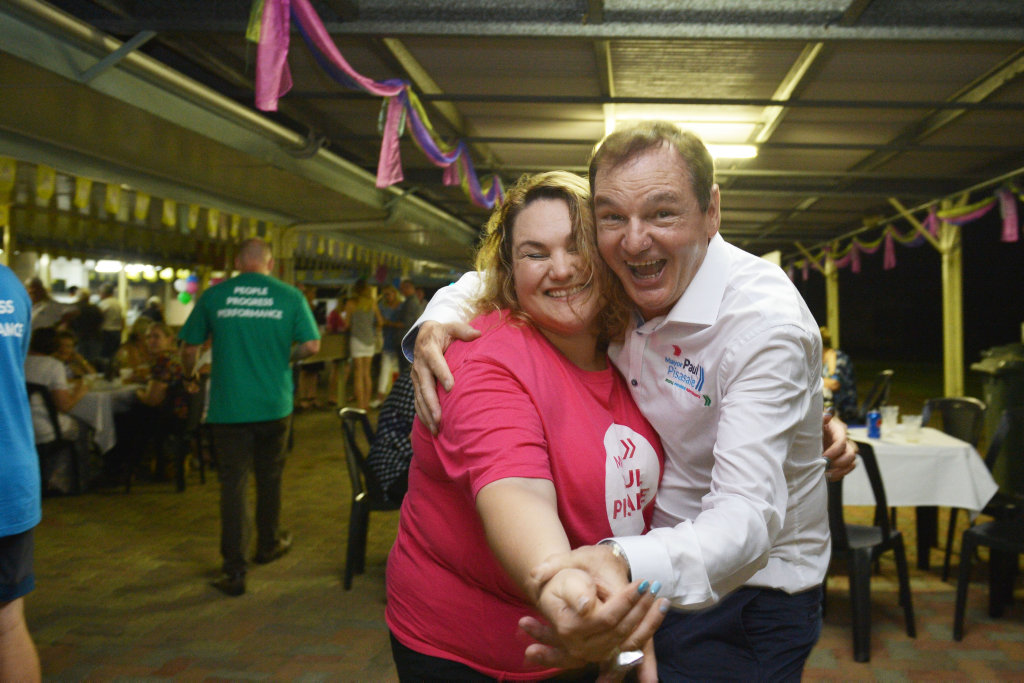 Re-elected Mayor Paul Pisasale with his daughter and campaign manager Lisa Pisasale. Photo Inga Williams / The Queensland Times