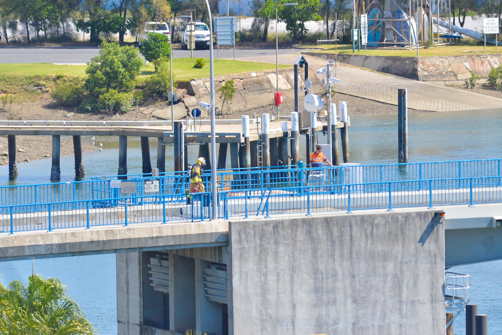 NO EMERGENCY: Fire fighters were sent to the Matthew Flinders Bridge after reports of smoke coming from the engine room.