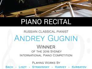 Winner of the 2016 Sydney International Piano Competition, Russian pianist Andrey Gugnin will perform a piano recital at the Brolga Theatre in Maryborough.