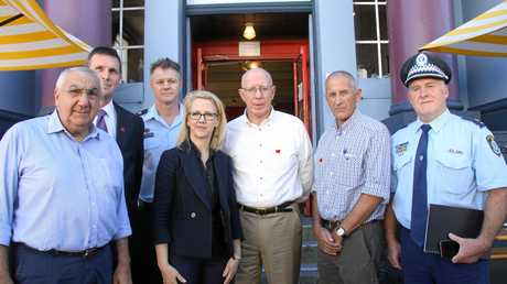 NSW Governor, his Excellency David Hurley visited Lismore on Monday April 10. L-R Thomas George, LCC general manager Gary Murphy, Andrew McPhee NSW Fire & Rescue, LCCI Deb Benhayon, David Hurley, Euan Ferguson and Sup. Greg Martin