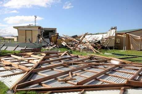 HIT HARD: The Proserpine Showground Arts and Crafts Pavilion building post cyclone Debbie.