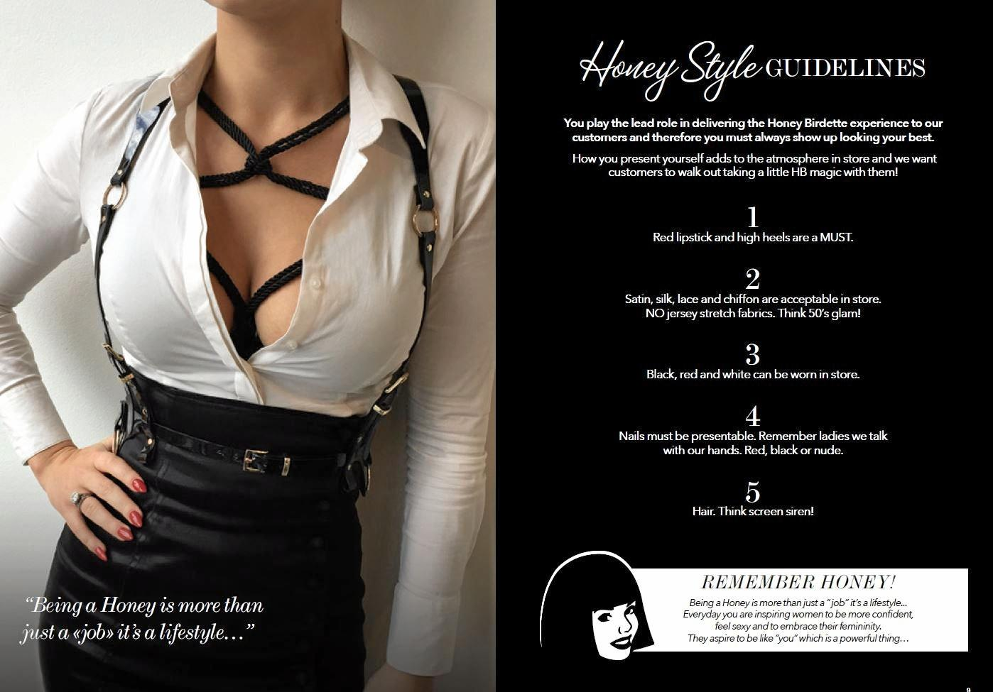 A snippet out of Honey Birdette's 'Llittle Black Book' for employees.