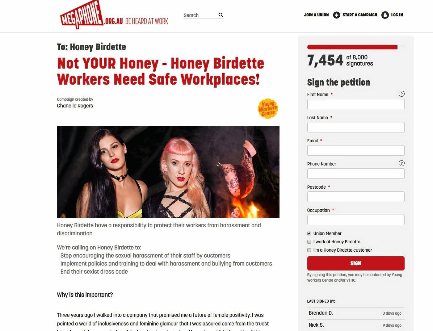 The campaign calling for change to Honey Birdette's practices.