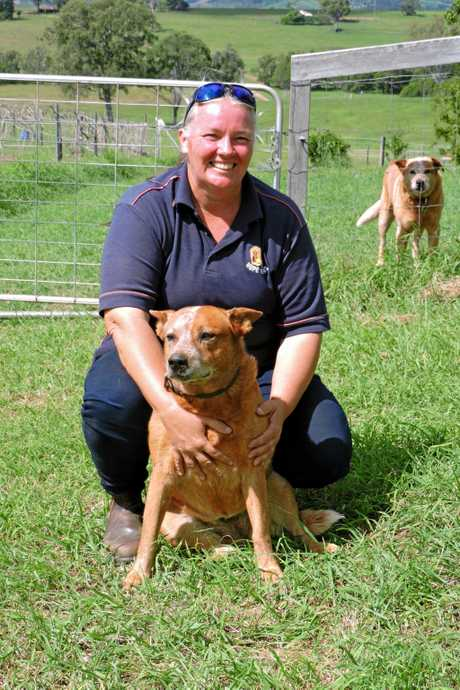 Kylie Read with farm dog Jemma who plays an important role in settling many people suffering from emotional problems.