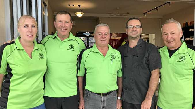 FUNDRAISER: Members of the Rotary Club of Ballina-on-Richmond (from left) Jodie Shelley, Dave Harmon, Col Lee and (far right) Heini Geissel with (second from right) chef Keith Wilson from La Cucina di Vino.