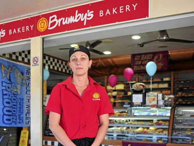 Manager of Brumby's Bakery, April Grant had her store broken into.     Photo Christopher Chan / The Observer