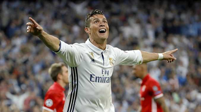 Real Madrid's Cristiano Ronaldo celebrates after scoring against Bayern Munich during the Champions League quarter-finals.