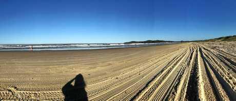 A selfie at Airforce Beach at Evans Head.