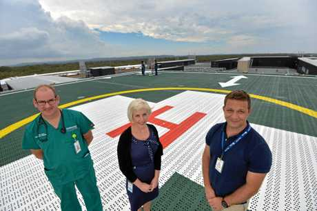 The new state of the art Emergency Department at the Sunshine Coast University Hospital.  Dr Ben Close, Director of Emergency Department, Cindy Roker, Nurse Unit Manager, Emergency Department and Dr Mike Natale, Clinical Director, Emergency Department.
