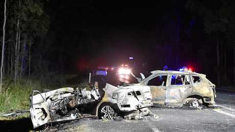 TRAGEDY: Crash investigators at the scene of the fatal crash on the Bruce Hwy, 2km north of Tiaro.
