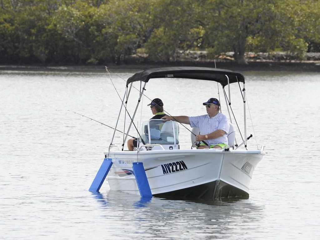 GET OUT ON THE SURFACE: The best way to make the most of the recent splurge of fishing activity on the Clarence River is by getting to the middle of it by boat like these happy holiday anglers did over Easter.