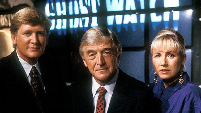 Well known presenters including Michael Parkinson (centre) lent Ghostwatch an air of authenticity.