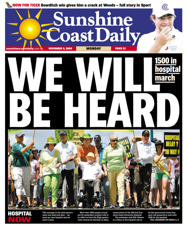 Sunshine Coast Daily front page, November 9, 2009.