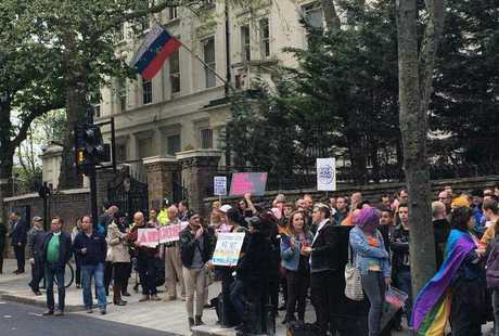 People protest outside the Russian Embassy in London, following reports of the torture and murder of gay men in Chechnya