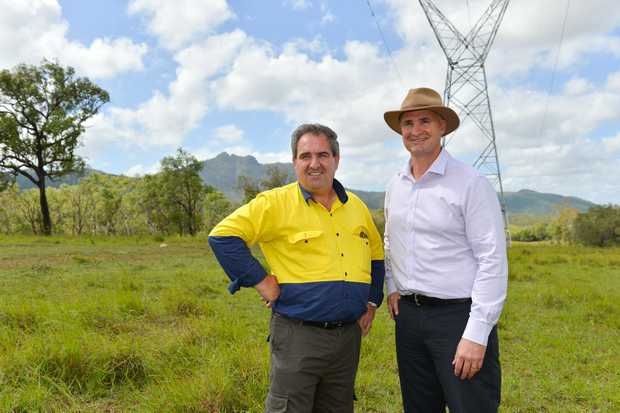 Economic Development Queensland land planning and development manager John Brun and Glenn Butcher mp at Aldoga.