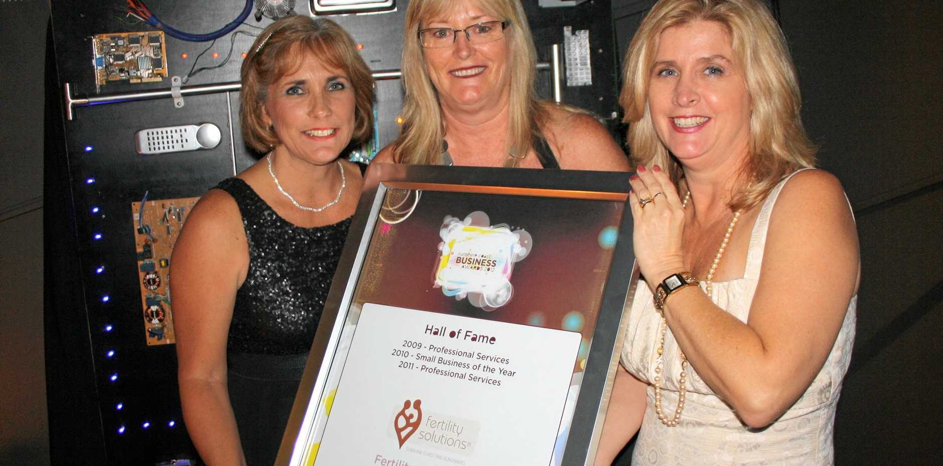 Hall of Fame: Fertility Solutions, Donna Edwards, left, Denise Donati and Kim De Marco were inducted into the hall of fame for the Sunshine Coast Business Awards.