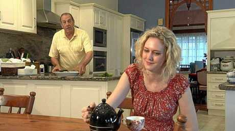 Anna and her dad Wayne Daniels in one of the stories she did about Rockhampton for television show The Project.