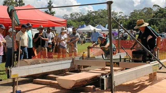 SKILLS OF YESTERYEAR: Visitors to the Cooroora Woodworkers Club's annual Wood and Craft Show will see a milling team in action.