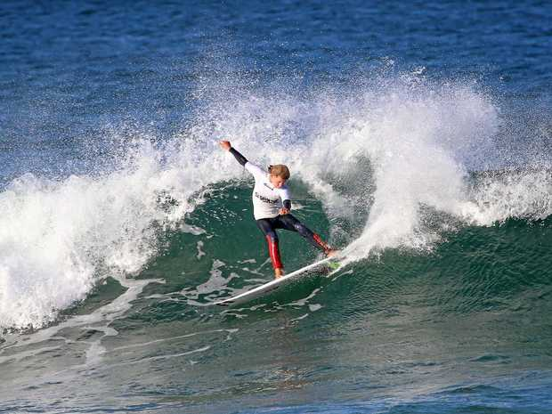 Bondi surfer Grayson Hinrichs stamped his authority on the third round of the 14-and-Under Boys division, nailing the first and only perfect ten-point ride of the event.