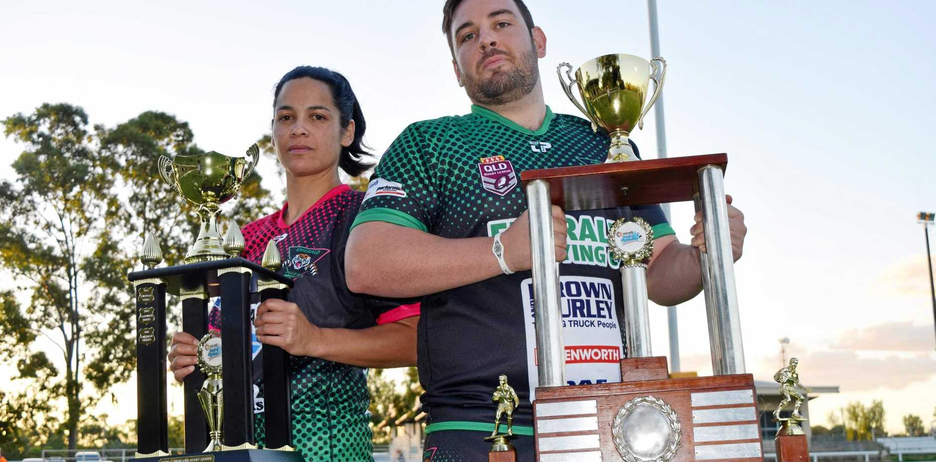 PREMIERS KEEN: Emerald Tigers Ladies captain Maria Rawiri and Emerald Tigers player Joshua Cavanagh are hoping to retain the competition trophies again this year.
