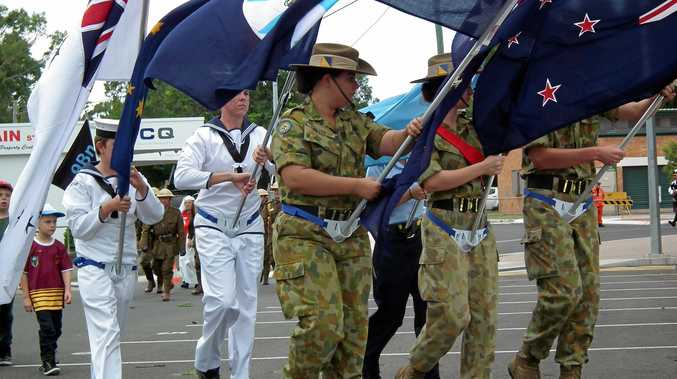 PARADE: Australian Army and Navy cadets in the Hervey Bay Anzac Day march.