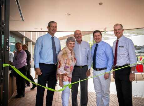 Mick Curran, Dulcie Dyne, Warren Truss, Llew O'Brien and Tony Perrett cut the ribbon at the Gympie Aquatic Recreation Centre opening on April 1, 2017.