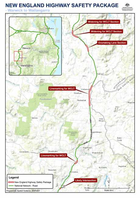 Map of the proposed upgrade works for the New England Highway.