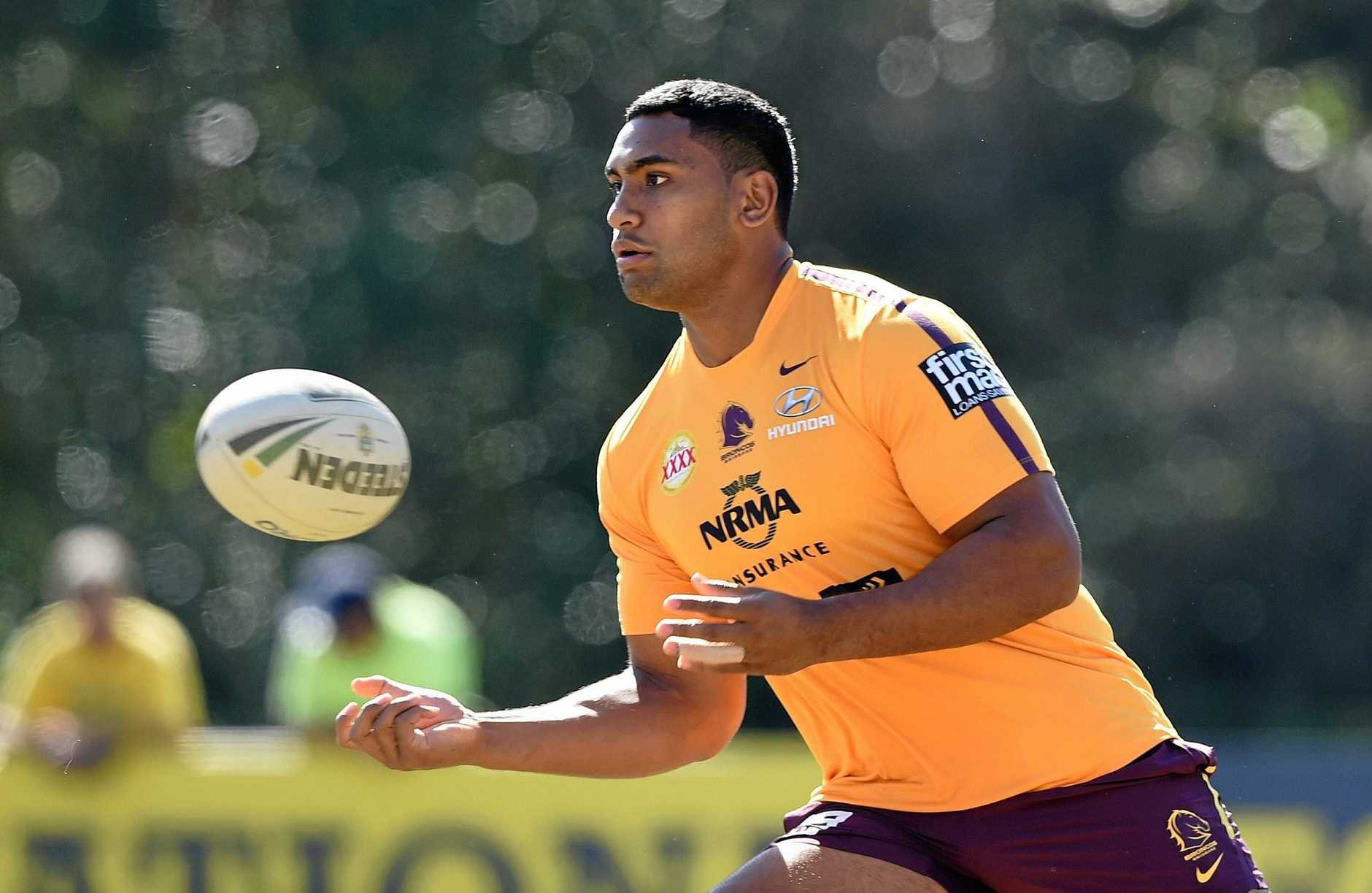 Tevita Pangai Jnr led the way for the Broncos forwards against the Storm. (AAP Image/Dave Hunt)