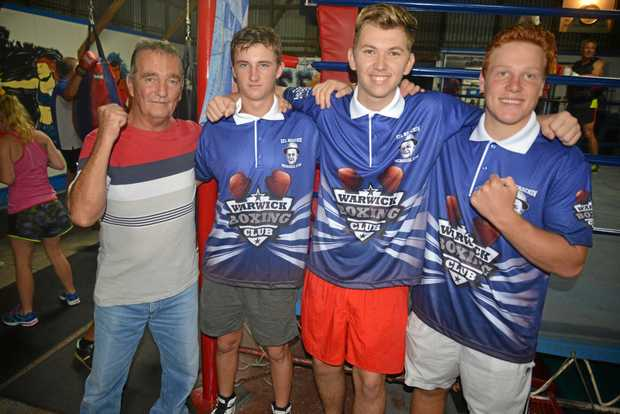 READY TO BOX: Warwick Boxing Club trainer Peter Leisegang, Will Pratt, Brodie Fox and David Kern in the run-up to the state championships at Acacia Ridge.