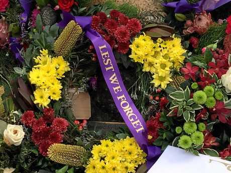 LEST WE FORGET: Floral tributes at the 2016 Maleny Anzac Day parade and main service.