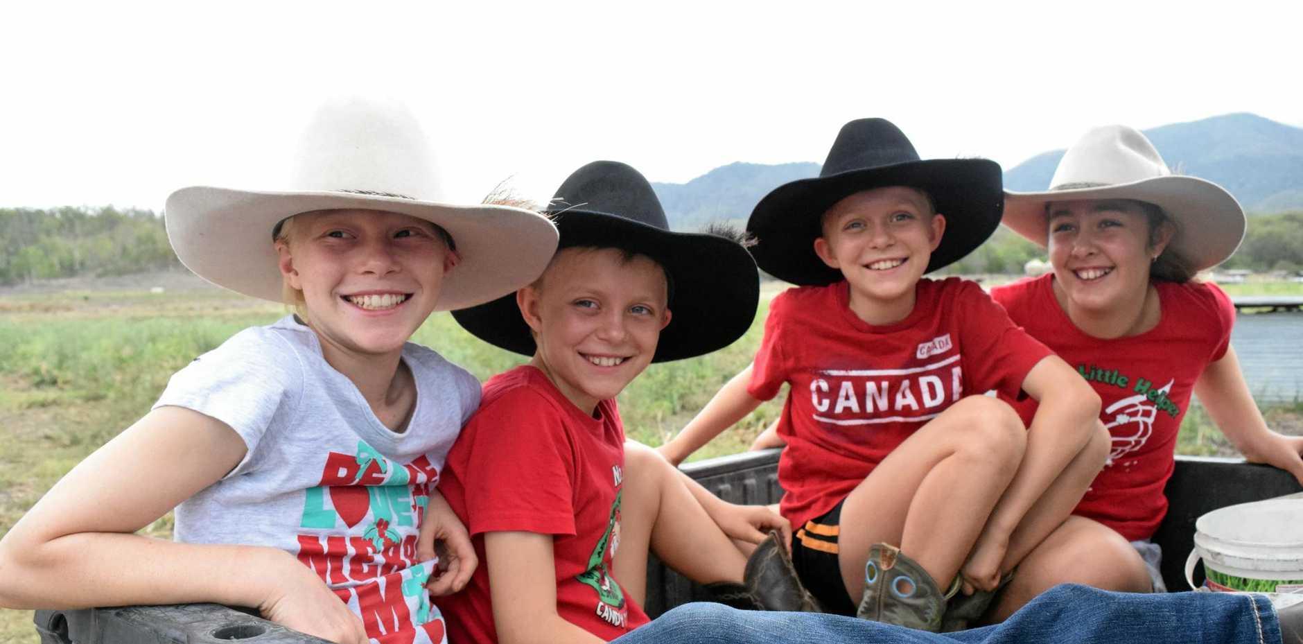 FARM TOURS: Hannah, Laura and Megan Bauman and Tembi Galloway visit the Freckle Farm breeding sows.
