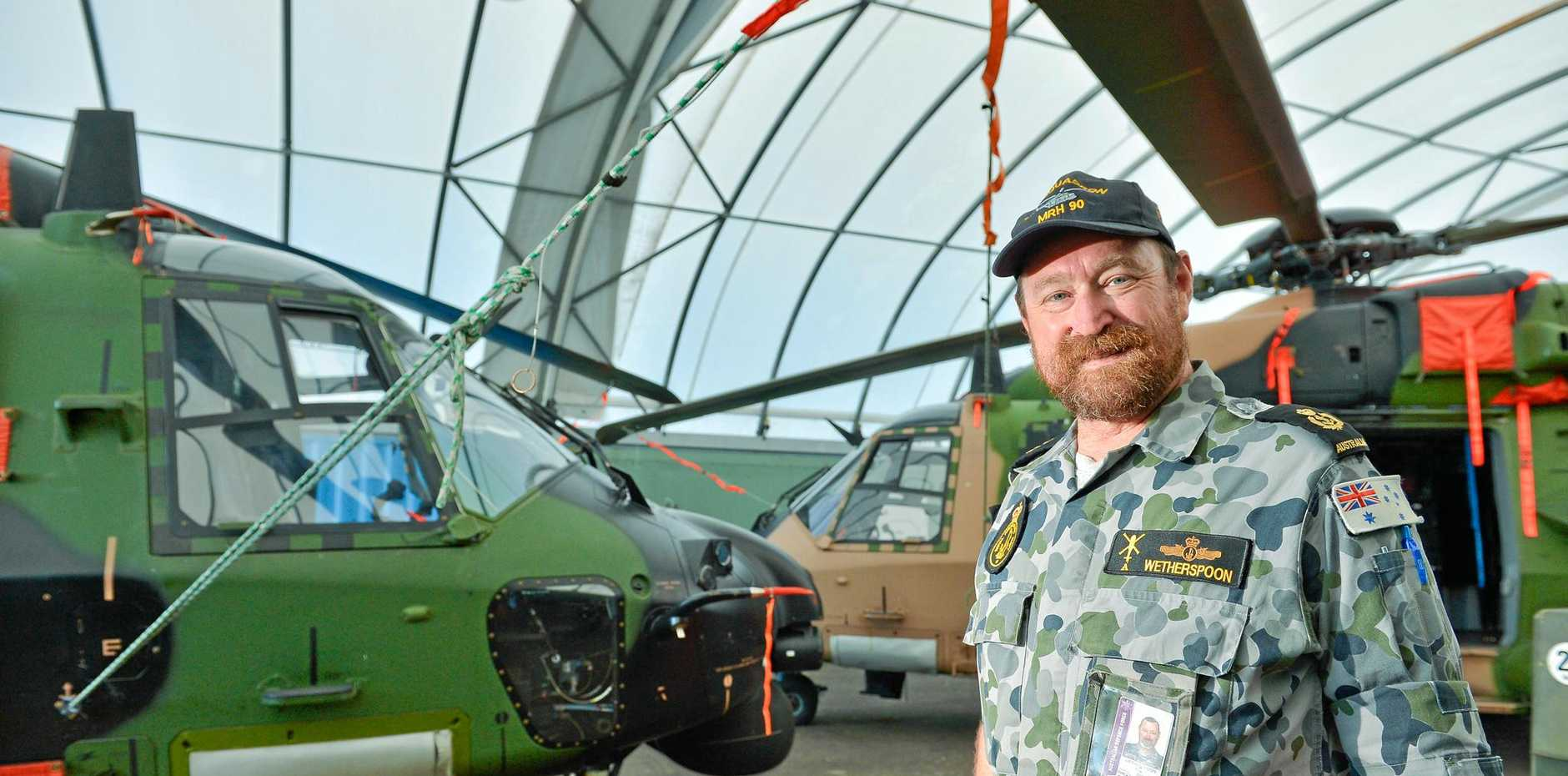 IMPORTANT: Chief Petty Officer Tony Wetherspoon has been helping maintain their MRH90 helicopters, which have been based in Gladstone to help deal with the effects of ex-Tropical Cyclone Debbie.