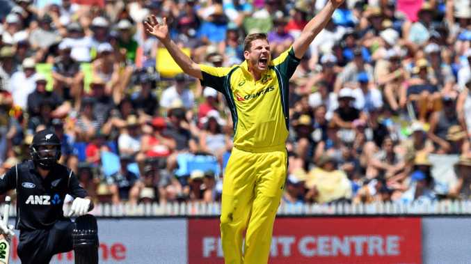 James Faulkner of Australia dismisses Dean Brownlie of New Zealand in their Chappell Hadlee Trophy clash in February.