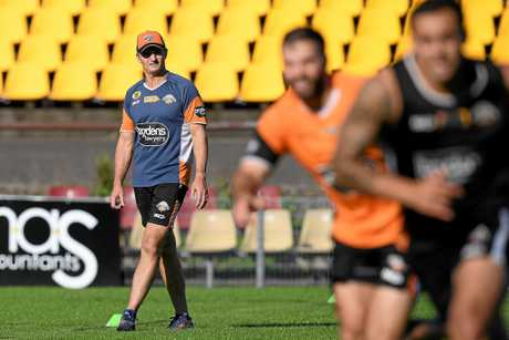 Wests Tigers coach Ivan Cleary watches a training session at Concord Oval.