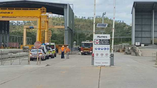 Emergency services attend an industrial accident at Humes on Ingham Road, the Bohle.