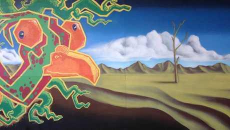 Kade Valja and Matthew Brydon's gallery carpark mural detail.