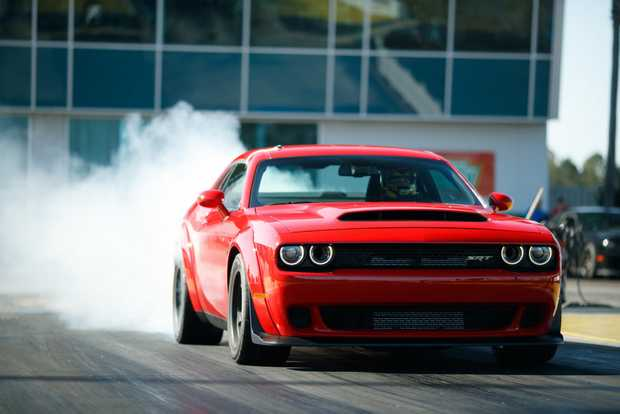 WEAPON: Supercharged 6.2-litre Hemi Demon V8 produces 626kW and 1044Nm, hits 60mph (97kmh) in 2.3 seconds and sprints the quarter-mile in just 9.65 seconds.