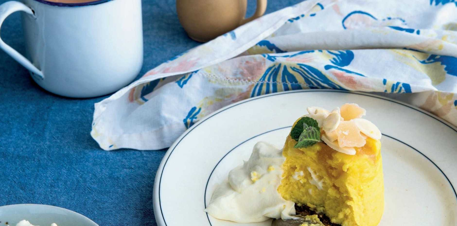 Baked lemon ricotta and ginger cheesecakes, by Sally Wise.
