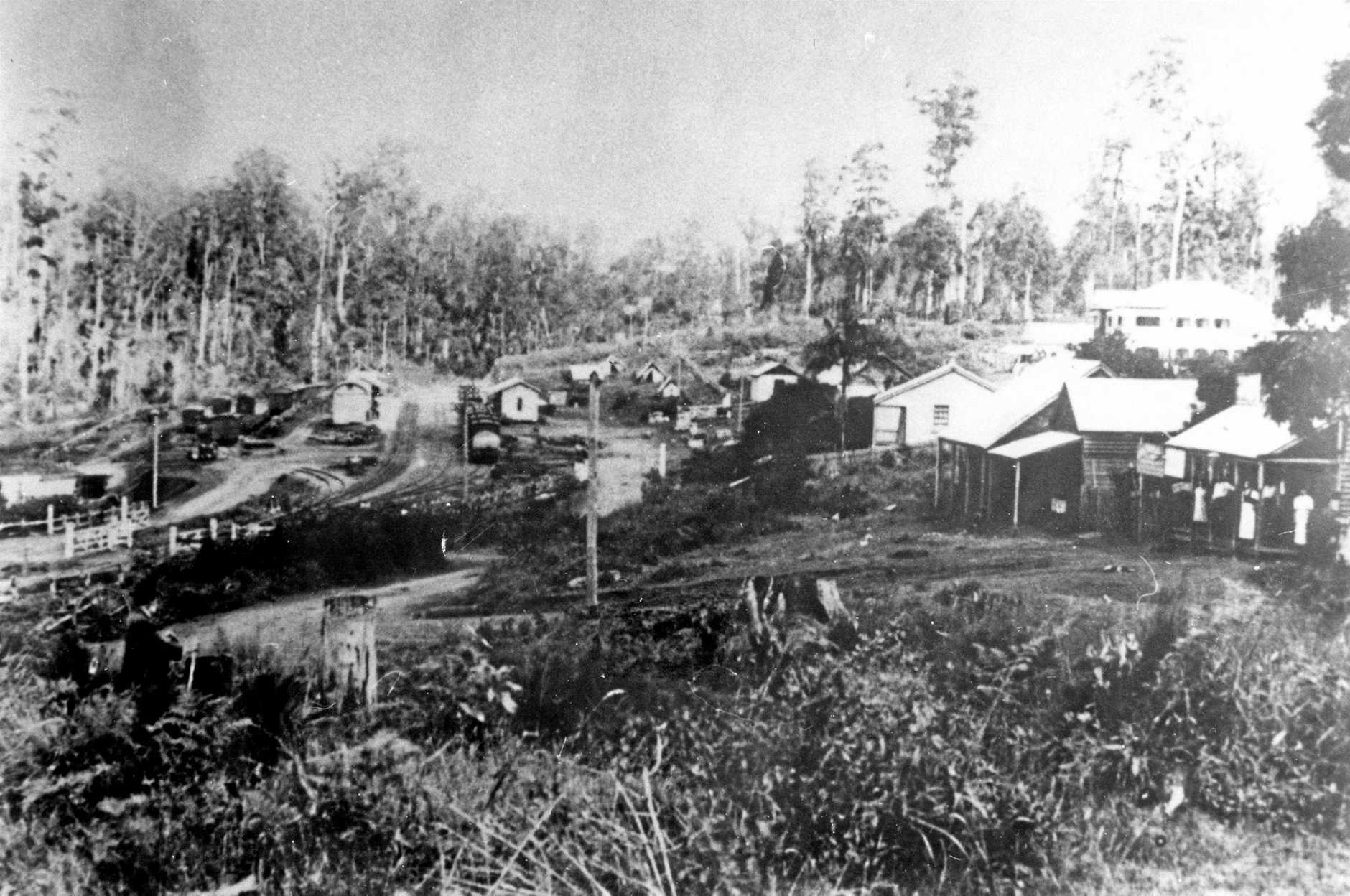 Palmwoods township, looking towards Railway Station from present site of Memorial Hall, 1919.