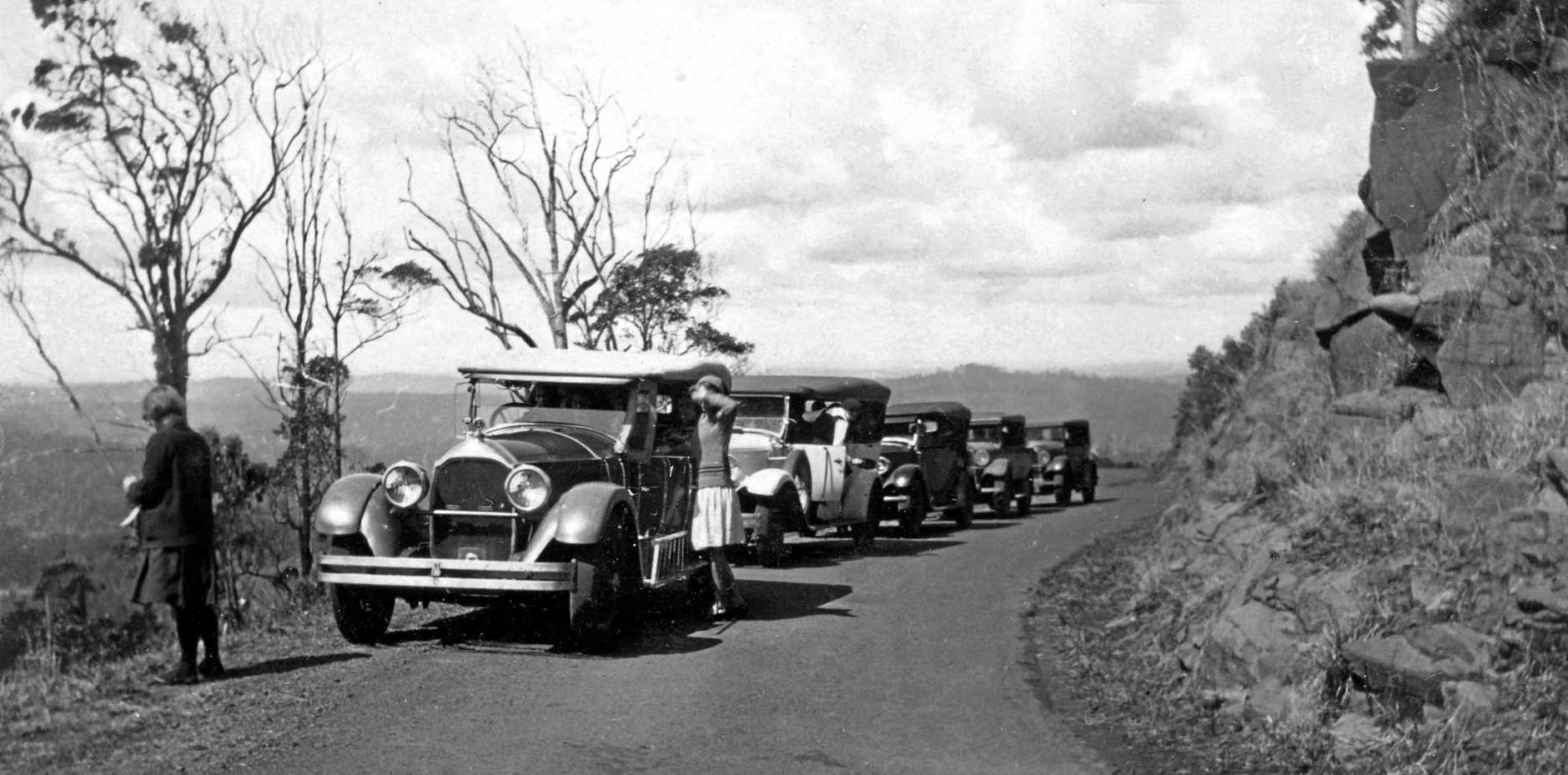 Travel could be hard work for our early pioneers but was easier by 1930, when this picture was taken on Montville Rd.