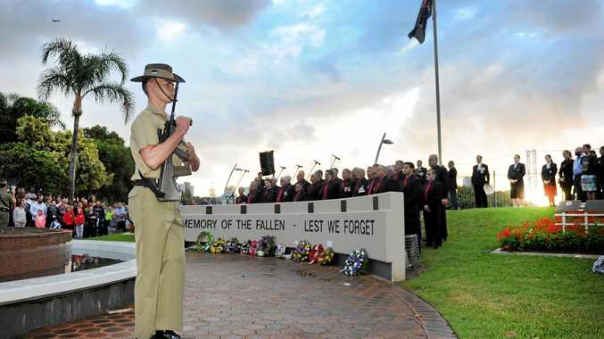 An Army cadet stands in the honour guard at the 2016 Anzac Day dawn service at Tweed Heads.