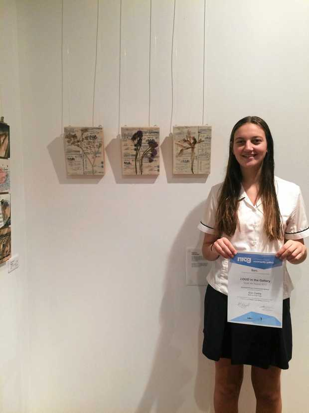 YOUTH ART AWARD: Erin Cattle, of Ballina Coast High School, was one of the students awarded  for her work in the LOUD in the Gallery art exhibition.